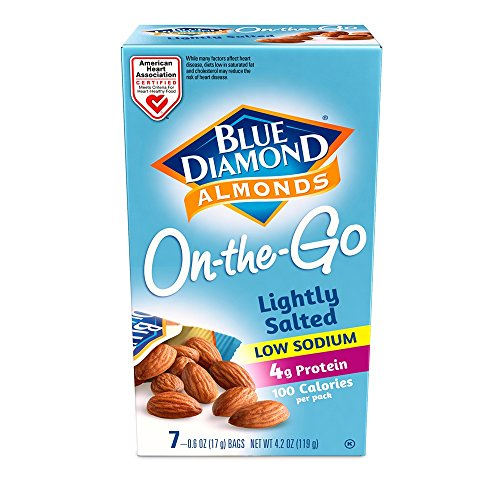 Blue Diamond Almonds, Low Sodium Lightly Salted 100 Calorie On-The-Go Bags,0.6 Ounce (7 Count)