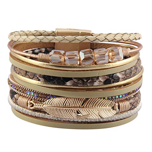 Bfiyi Leather Cuff Bracelets Boho Multilayer Braided Wrap Bangle Handmade Wristbands Feather Bracelet for Women,Girls,Wife,Mom,Kids Gift