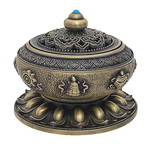 Singeek Copper Alloy Incense Burner Holder for Sticks, Cones Or Coils Incense(Bronze)