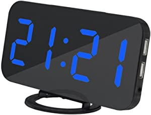 Ultra Thin Modern Snooze and Time Setting LED Digital Decorate Alarm Clock with Phone Charger for Home Decor (Blue)