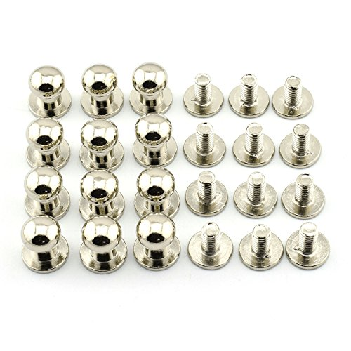 LQ Industrial 12 Sets 8x10x10mm Silver Chicago Screws Round Head Button Stud Slotted Screws Nail Rivet For DIY Leather Craft
