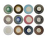 Creative Co-Op 4.5-inch Round Reactive Glaze Stoneware Coasters, Multicolor, Set of 12