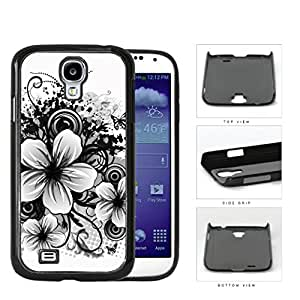Floral Sketch Drawing Black And White Hard Plastic Snap On Cell Phone Case Samsung Galaxy S4 SIV I9500