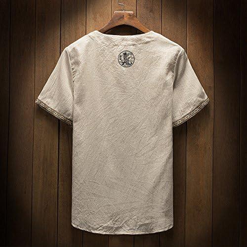 メンズ シャツ Rexzo 中國風 メンズ 綿麻 Tシャツ 超ナイス 上質 カジュアル メンズ tシャツ シンプル Vネック トップス 純色 爽やか 上着 着心地良い スリム カジュアル メンズ tシャツ 運動 日常 普段着 デイリーに大活躍