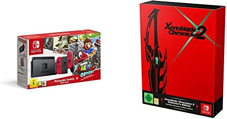 Nintendo Switch - Consola + Super Mario Odyssey Bundle (Código Descarga) + Xenoblade Chronicles (Limitada): Amazon.es: Videojuegos