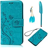 ZSTVIVA S7 Wallet Case,Galaxy S7 Case,Premium PU Leather Magnetic Flip Cover Embossed Flower Flying Butterfly Bumper with Built-in Card Slots Stand Holder Side Pocket for Samsung Galaxy S7 - Blue