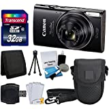 Canon PowerShot ELPH 360 HS Digital Camera (Black) + Transcend 32GB Memory Card + Camera Case + USB Card Reader + LCD Screen Protectors + Memory Card Wallet + Complete Accessory Bundle