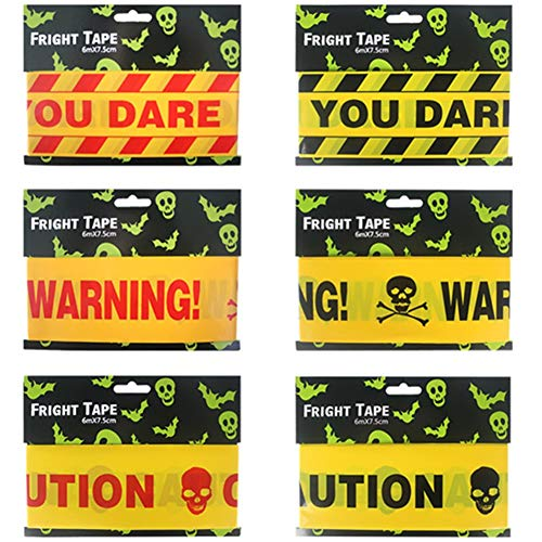 Halloween Warning Signs Party Supplies, 6 Pack Fright Tapes for Decor Window Wall Prop Halloween Haunted Decoration