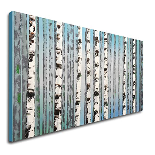 Hand Painted Blue Forest Canvas Wall Art Modern Oil Painting Abstract - Hand Blue Art Painted