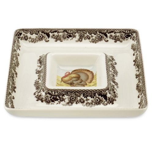 - Spode Woodland Turkey Square Chip and Dip Serving Set by Spode