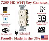 SecureGuard Elite 720p HD WiFi Wireless IP AC Power Receptacle Outlet Hidden Security Nanny Cam Spy Camera with 16GB Memory (Beige / Functional Receptacle)