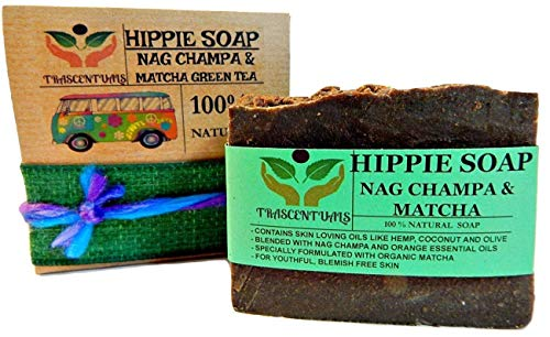 Nag Champa Soap With Hemp Oil - Organic Matcha Green Tea and Shea Butter - Hippie Soap - A Natural Soap by Trascentuals (1 Pack)
