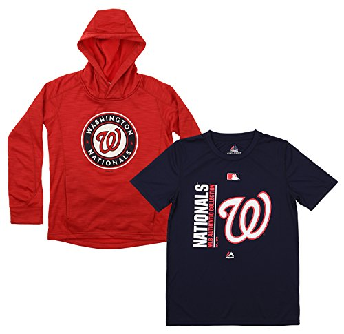 Outerstuff MLB Youth Primary Icon Hoodie and Tee Combo, Washington Nationals X-Large (18)