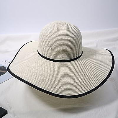Xing Han Chapeau De Plage Chapeau De Soleil Paille Femme Été Japonais Plage Chapeau Chapeau Solaire Le Long Du Chapeau De Paille Bord De Mer Vacances Vent Chapeau Pliant, Blanc
