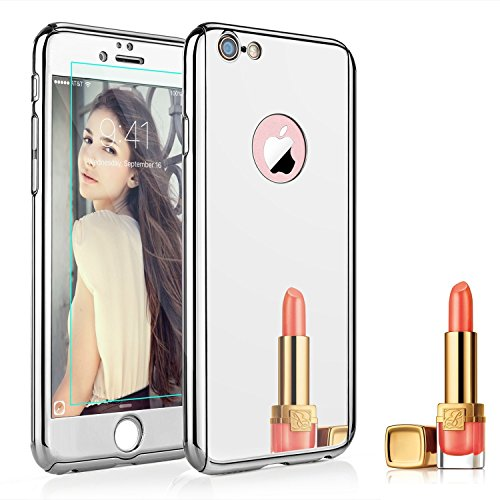 Price comparison product image iPhone SE / 5 / 5s Electroplating Mirror Full Body Case-Auroralove Silver Front Back Shockproof Hard Metal PC Glass Cover with Tempered Glass Screen Protector for iPhone SE / 5 / 5s