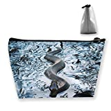 Makeup Bag Cosmetic Snake Leaves Water Portable Cosmetic Bag Mobile Trapezoidal Storage Bag Travel Bags with Zipper