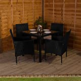 Home Discount Malpas Garden Rattan Furniture 4 Seater Dining Set, Black & Cream Outdoor Patio Conservatory Lounge Dining Table Glass Top Chairs Cushions UKFR