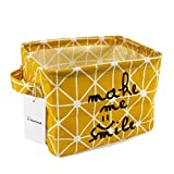 yellow baskets with handle - Small Canvas Fabric Foldable Organizer Storage Basket with Handle, Collapsible and Convenient for Nursery and Babies Room (Yellow)