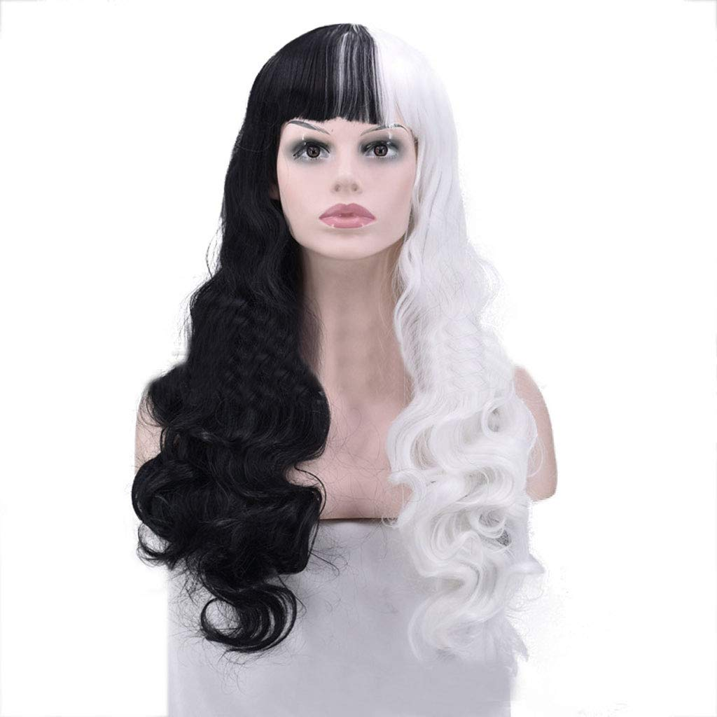 Amazon.com : Eoco Womens Wig, Fashionable Half Black And Half White Long Curly Hair Cosplay Female Party Wig : Beauty
