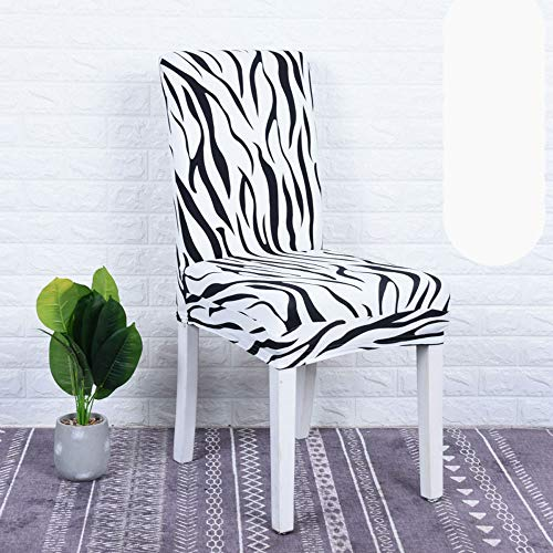 Upone Set of 2 Dining Chair Covers, Stretch Spandex Dining Room Protector Slipcovers - Slipcover Zebra