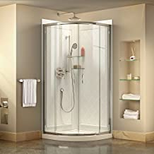 DreamLine Prime 31 3/8-Inch by 31 3/8-Inch Frameless Sliding Shower Enclosure, Base and QWALL-4 Shower Backwall Kit, DL-6152-01CL, Chrome Finish