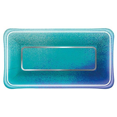 Foil Ocean Blue Scallop Rectangle Paper Appetizer Plates, 8ct