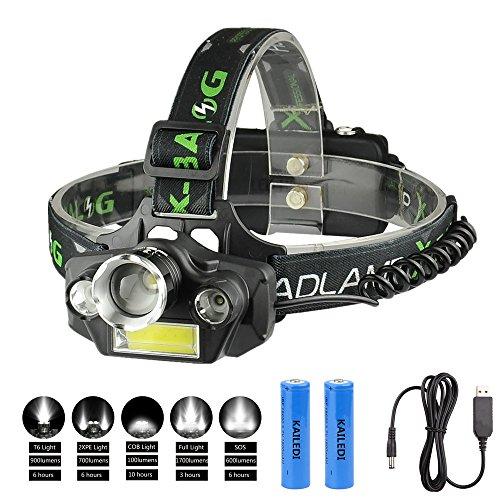 LED Headlamp Flashlight, KAILEDI USB Rechargeable LED Headlamp- Waterproof & Comfortable Headlight , Battery Powered Helmet Light , 8000 Lumen 4 Light 5 Modes Super Bright Outdoor Camping Biking Hunti