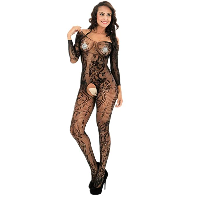 87acc2f4fb7 ZWFUN Women s Hollow Out Fishnet Bodystocking Long Sleeve Open Crotch Strap  Floral Lace Bodysuit Lingerie (
