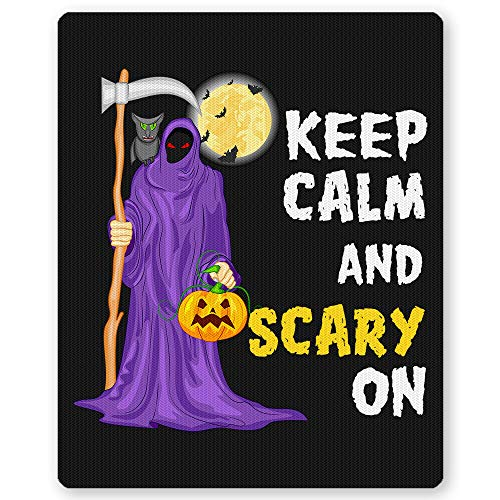 Keep Calm and Scary ON Funny Ghost Bat Pumpkin Halloween Mousepad Perfect Novelty Present idea on Halloween, Christmas, Birthday for Yourself, Friends or Family Funny Black Mouse Pad by HOME OF MERCH