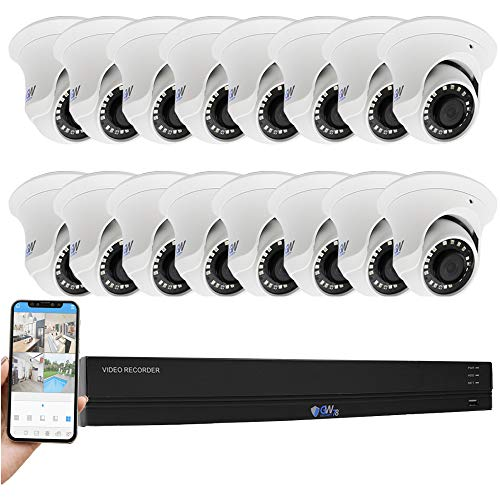 GW 16 Channel 4K H.265+ CCTV System Surveillance DVR Kits with (16) x HD 8MP 2160P Outdoor/Indoor 4K Dome Security Cameras, 100ft Night Vision, 4TB Hard Drive Pre-Installed