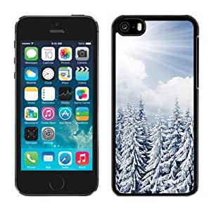 New Beautiful Custom Designed Cover Case For iPhone 5C With Sun Shine Over Winter Pine Forest Phone Case