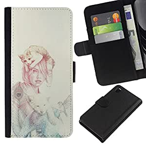 // PHONE CASE GIFT // Moda Estuche Funda de Cuero Billetera Tarjeta de crédito dinero bolsa Cubierta de proteccion Caso Sony Xperia Z3 D6603 / Cat Woman /