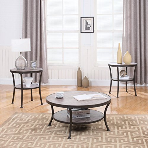 3 Piece Modern Round Coffee Table and 2 End Tables Living Room Set (Rust)
