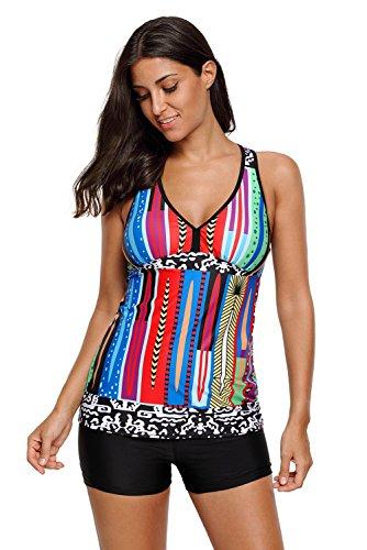Aleumdr Womens V Neck Racerback Printed Padded Tankini Top Set Shortini Swimsuits with Swim Shorts Plus XL Size Multicoloured