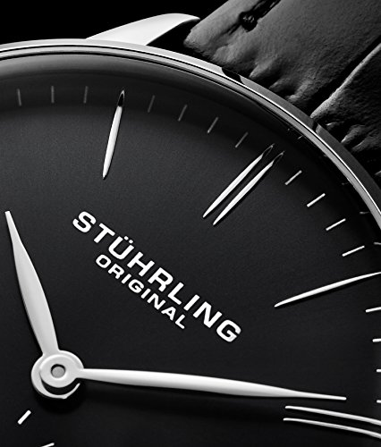 Stuhrling Original Mens Dress Watch, Leather Strap, Vintage Pie-Pan Dial with Seconds Sub-Dial, Stainless Steel Analog Japanese Quartz Watch, 849 Series (Black) by Stuhrling Original (Image #3)