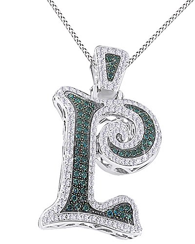 Round Cut Simulated Blue & White Cubic Zirconia Initial Hip Hop Pendant in 14k White Gold Over Sterling Silver (13.29 Cttw) by AFFY