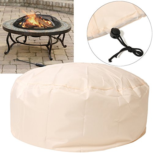 Essort Fire Pit Cover, 37'' Patio Round Fire Pit Cover with Drawstring UV Resistant Waterproof for Outdoor Grill BBQ Cook Beige by Essort