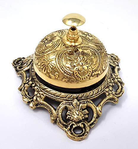 Brass Nautical - Ornate Desk Bell Table Bells Call Bell Reception Bell (5 inches, Polished ()