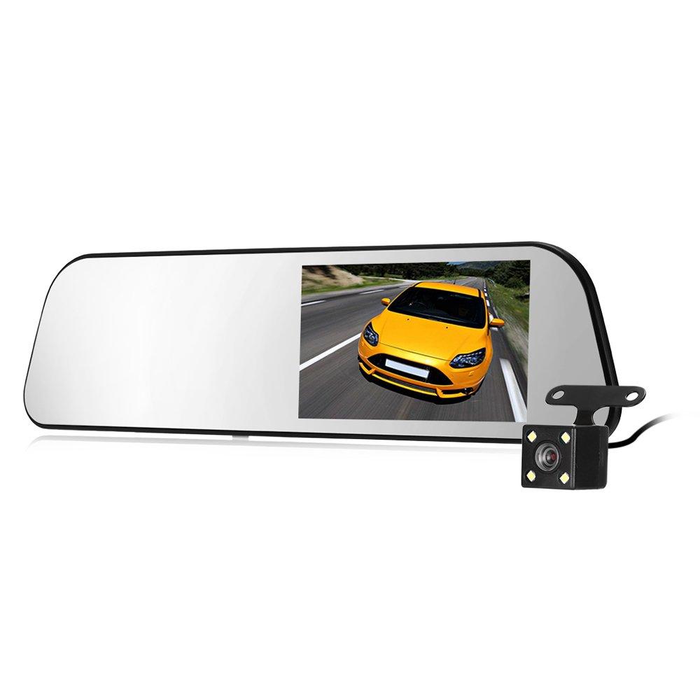 autolover hs900 a 4.3インチ1080p 350度車ミラーダッシュカムビデオレコーダーバックミラーカメラで前面と背面カメラ、Gセンサー、ループ録画 ホワイト B07BTZNM5G  UC58