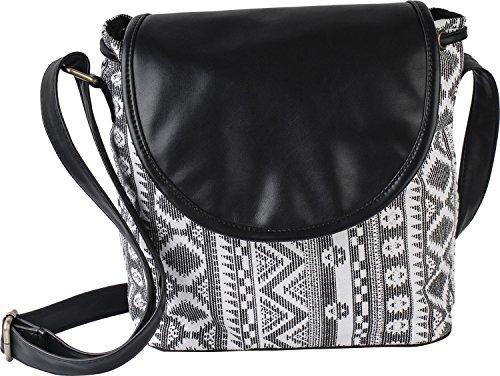 Kleio casual monocrome canvasSling Bag (Black)