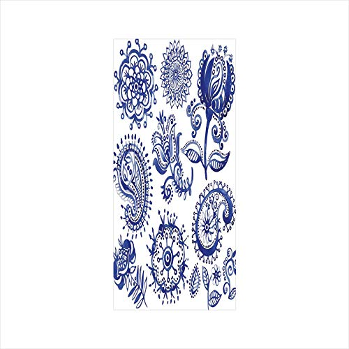 Decorative Window Film,No Glue Frosted Privacy Film,Stained Glass Door Film, Old Fashioned Artful Motifs in Watercolor Style Paisley Mandala Floral,for Home & Office,23.6In. by 35.4In Navy Blue White