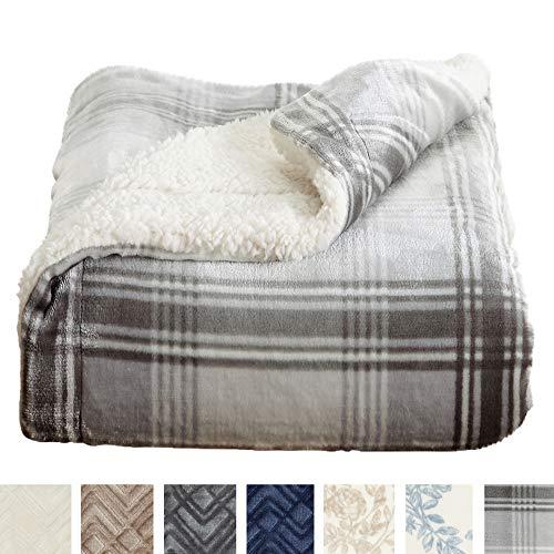 Home Fashion Designs Premium Reversible Sherpa and Sculpted Velvet Plush Luxury Blanket. Fuzzy, Soft, Warm Berber Fleece Bed Blanket Brand. (King, Plaid Grey)