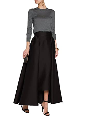 3ace77f2d5 CoutureBridal Women's Pleated Maxi Skirt Formal A-Line High Low Satin Ankle Length  Skirts Black