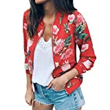HHei_K Womens Casual Floral Print Long Sleeve Sweatshirt Jacket Pockets Zip up Cardigan Coat