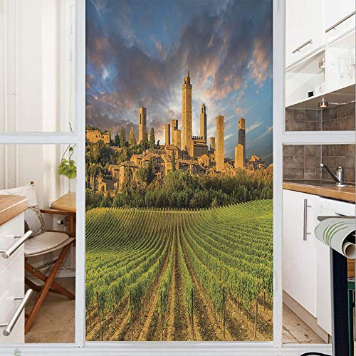 Decorative Window Film,No Glue Frosted Privacy Film,Stained Glass Door Film,Vineyards of San Gimignano Tuscany Historic Architecture Dramatic Sky Clouds Decorative,for Home & Office,23.6In. by 47.2In