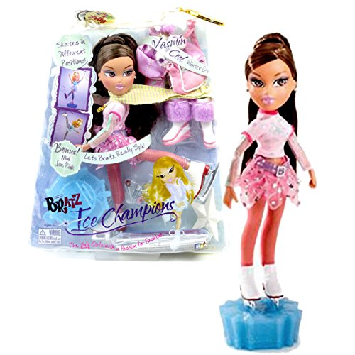 MGA Entertainment Bratz Ice Champion Series 10 Inch Doll - YASMIN in Pink Skating Outfit with Gold Accents with Medal, Earrings, Scarf, Jacket, Bag, Skating Shoes, Boots, Hairbrush and Display - Yasmin Accent