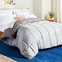 Linenspa All-Season Reversible Down Alternative Quilted Comforter - Corner Duvet Tabs - Hypoallergenic - Plush Microfiber Fill - Box Stitched - Machine Washable - Stone/Charcoal - Twin