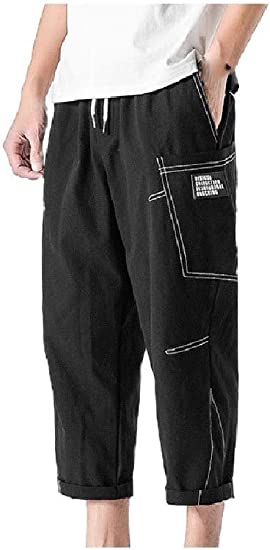 Tootess Men Loose Summer 3/4 Length Pants Trousers with Side Pockets