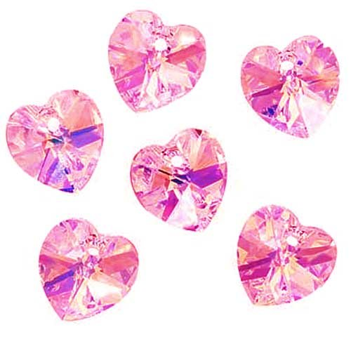 Swarovski Crystal, #6228 Heart Pendants 10mm, 6 Pieces, Light Rose AB (Ab Swarovski Crystal Heart Pendant)