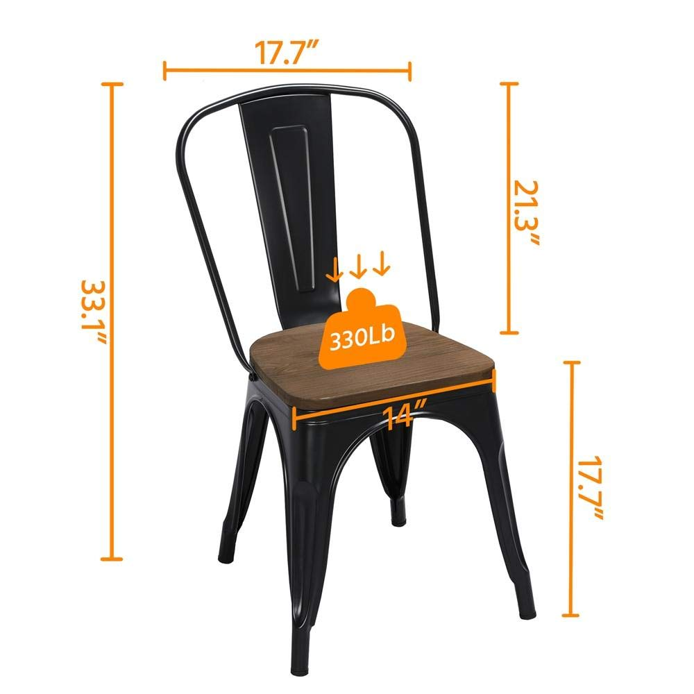 Yaheetech 18 Inch Classic Iron Metal Dinning Chair with Wood Top Seat Indoor-Outdoor Use Chic Dining Bistro Cafe Side Barstool Bar Chair Coffee Chair Set of 4 Black